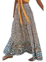 Boho Floral Print Elastic Pleated Cake Maxi Skirt
