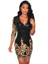 Victorian Gold Sequins Calf-Length Sleeve Bodycon Slim Dress