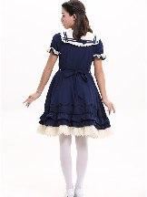 Rhine navy princess dress Sweet Lolita Short Sleeve Dress