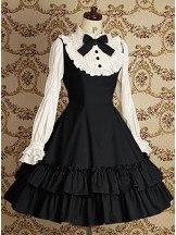 Black Long Sleeves Ruffle Slim Cotton Classic Mary School Lolita Dress