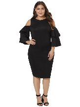 Ruffled Five-quarter Sleeves Off-shoulder Plus Size Dress