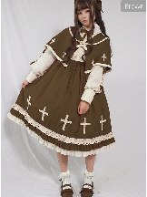 Cross Choir OP Dress Long Sleeve Sweet Lolita with Cloak Set