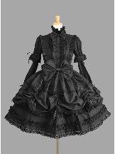 Lolita Princess Standing Collar Bowknot Retro Lace Gothic Lolita Long Sleeve Dress