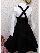 fake two-piece black white bowknot long-sleeved suspender School Lolita Dress