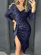 Slim Glitter Ruched Thigh Slit Prom Metallic Dress
