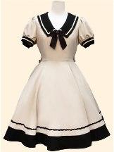 Wine Red Navy style princess dress retro Japanese Short Sleeve School Lolita Dress