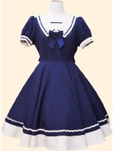 Navy blue Navy style princess dress retro Japanese Short Sleeve School Lolita Dress