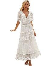 Deep V-neck Short Sleeve Luminous Dawn Lace Gown