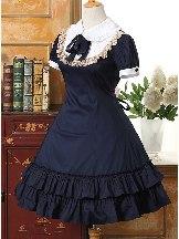 Retro Dark Blue School Lolita lace short-sleeved dress