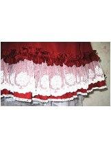 Red Cotton Short Sleeves Collar Bow Ruffles Hem Lolita Dress