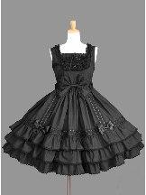Chiffon retro lace bow Bowknot Sweet Lolita Sling Dress