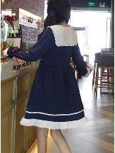 Bowknot cute long-sleeved dress doll skirt Chiffon School Lolita Dress