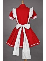 Red Short Sleeves White apron Lolita Maid Costume