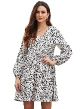 Stitching Leopard Print Ruffle V-Neck Flowy Loose Tunic Dress