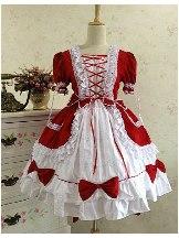 Gothic Princess Red White retro lace puffy Cotton Lolita Dress