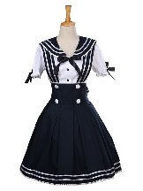 Angel's Feather Navy Style Short Sleeve School Lolita Dress Set