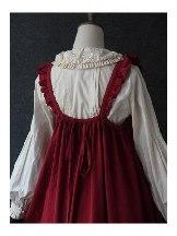 Fungus Lace Corduroy JSK Front Botton Sweet Lolita Dress