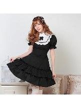 Black Puff Sleeve Bow Ruffled Retro School Lolita Dresses