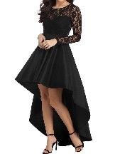 Big Swing Long Sleeve Lace High Low Satin Stitching Waist Prom Dress