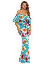 Tropical Leaf Print Off-the-shoulder Ruffled Slim Maxi Dress