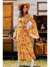 Retro Print Flared Sleeve Majesty Dress