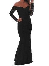 Crochet Off Shoulder Prom Mermaid Slim Fit Maxi Dress