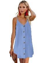 Women Summer Sexy Single-breasted Slip Mini Dress
