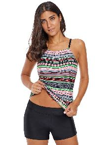 One-piece Stylish Geometry Print Suspenders Gather High Neck Swimsuit