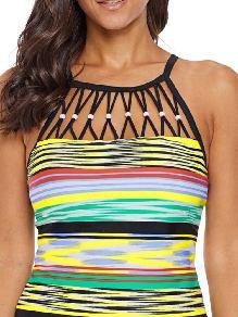 Single-piece Multicolor Striped Bead Decoration Trim High Neck Tankini Top