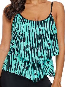 Single-piece Abstract Print Flowy Layered Design Vest-style Tankini Top