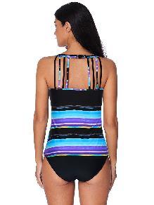 Women Multicolor Tie Dye Striped Tankini Vest Single Tops