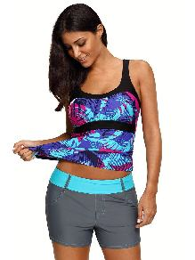 Split Swimsuit Mint Abstract Printed Camisole Floral Sling Tankini Top
