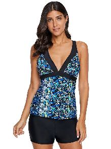 Sexy Cross-tie Print V Neck Floral Tankini Top One-piece Swimsuit