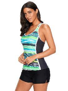 Bikini Stripe Print Muti Striped Racerback Slim Fit Plus Size Tankini Top