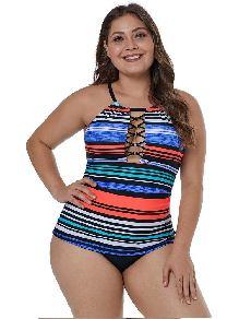 One Piece O-ring Lattice Neck Multicolor Striped Big Breast Plus Size Tankini Top