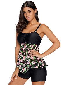 Floral Lacy Print Single Piece Stitching Skirted sexy sling Bandeau Tankini Top