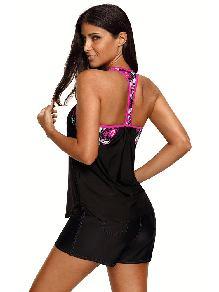 Split Swimsuit Blouson Style Printed T-back One Piece Tankini Top Swimwear
