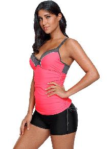 Tankini One Piece Ruched Ties Side Sling V-neck Gathered Tankini Top