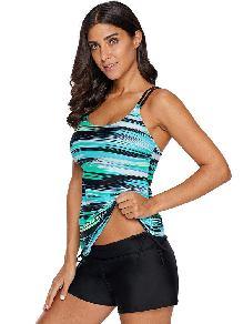 Beach Holiday Green Stripes Tie Round Neck Tankini Swimsuit Top