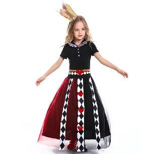 girl fairy tale Alice in Wonderland role play poker queen print jumpsuit Halloween Costume