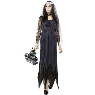 Halloween Dress Lace Edge Tulle Ghost Bride Female Game Uniform cosplay costume