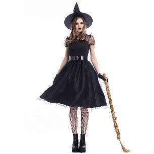 black yarn witch costume witch dark night ghost game costume Halloween costume