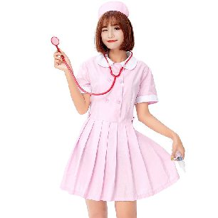 sweet nurse cosplay costume pink white nurse collar Halloween costume