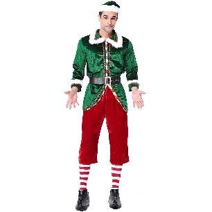 adult male long-sleeved Santa Claus costume thickening elf costume Christmas costume with socks