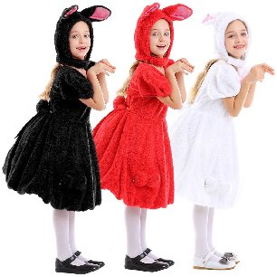 Animals Cute Rabbit Dress Up White Red and Black Tricolor Lop-eared Rabbit Hooligan Rabbit Halloween costume