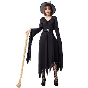 Black Irregular Witch Dress Stretch Slim Trick or Treat Night Long Dress Halloween costume