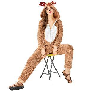 Christmas costume cute reindeer animal parent-child costume khaki elk loose pajamas