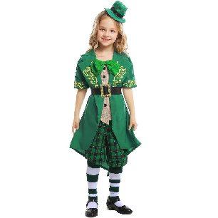 St. Patrick Day Irish Fairy Costume Alice Elf Costume kids Halloween Costume