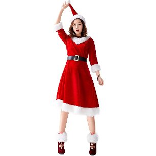 Japanese Christmas costume long-haired Christmas dress with foot cover