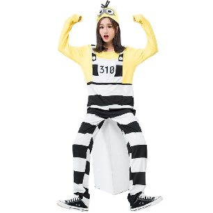 fake two-pieces cartoon character acting clothes yellow striped Halloween costume